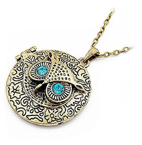 lon zum öffnen Kupfer Amulett Kette Damen Eule mit Blau Augen Strass Halskette Anhänger für Mädchen Kinder ()