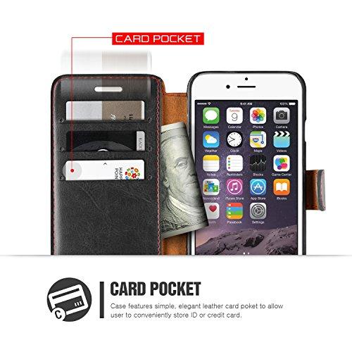 Étui iPhone 6 Plus / 6s Plus, VRS Dandy Layered Housse Téléphone [avec Fente pour Cartes] Coque Apple iPhone 6 Plus / 6s Plus Case Noir - Bordeaux Smartphone Noir / Bordeaux