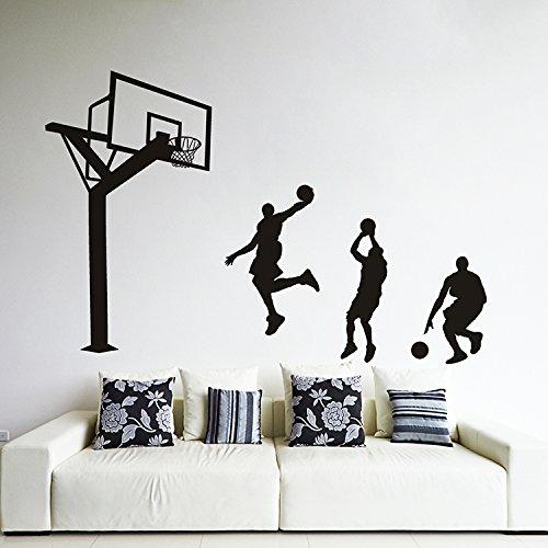 ALLDOLWEGE Minimalistischen Schlafzimmer Wand Aufkleber für jungen Jungen Schlafsaal Wanddekoration Sport dunk Basketball Poster, blau