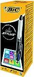 BIC 4-Farb-Druckkugelschreiber Colours Stylus – 2 in 1 Kugelschreiber: 4 Farbminen und Touchpen für Tablets & Co – Anzahl: 12 Stück
