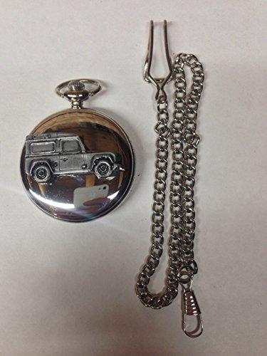 land-rover-defender-ref115-pewter-effect-emblem-polished-silver-case-mens-gift-quartz-pocket-watch-f