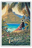 Pacifica Island Art Tahiti - Île du Paradis - Îles de la Société - Affiche de Voyage du Monde de Kerne Erickson - Master Art Print 33 x 48 cm...