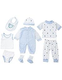 8pièces en coton à rayures à pois bébé nouveau-né Combinaison pantalon Gilet bretelles pour homme chapeau Chaussures Vêtements Set