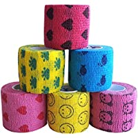 EMVANV vendaje de 5 m para mascotas, cinta autoadhesiva, no tejida, elástica, soporte para el brazo del dedo, estilo aleatorio