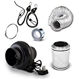 """4"""" Carbon Filter, Black Orchid Small In Line Fan & Duct Kit - Hydroponic Tent Grow Room Ventilation LED Set Up"""