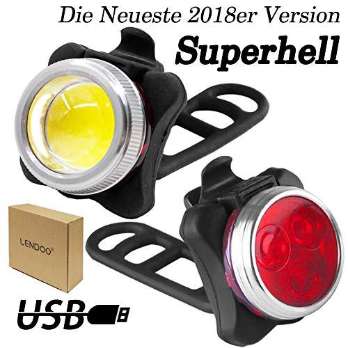 LED Fahrradbeleuchtung Set, TOODA LED Fahrradlicht mit USB Wiederaufladbare, LED Frontlichter Frontlich und Rücklicht, mit 650 mAh Lithium-Batterie Ideal für Mountainbikes,Straßenrädern,Camping …
