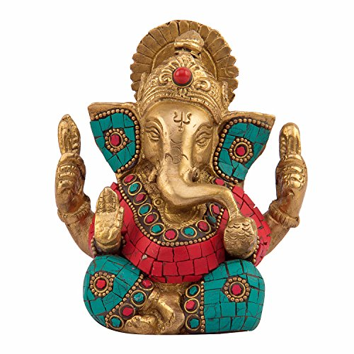 Kartique Brass Ganesh Idol | Ganesha Statue | Ganpati Murti | for Home Decor | Gift | Decorate with Multicolored Stone | 4.5 inches Height 51eIkzJVvdL