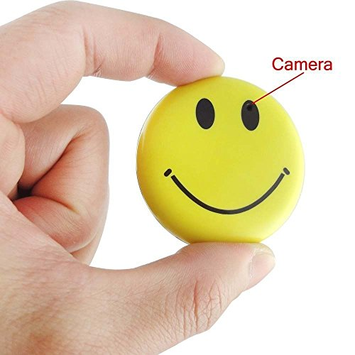 Mengshen HD Mini Espía Sonrisa Cara Insignia Wearable Cámara Oculta Cool Spy...