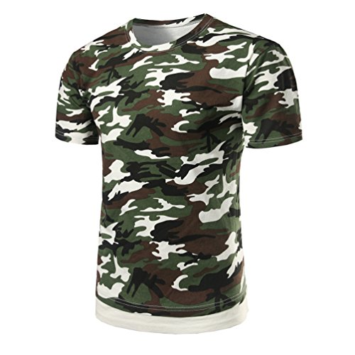 Zhiyuanan uomo classici camouflage t-shirt di grandi dimensioni maglietta manica corta military casuale woodland shirt tops camouflage green 2xl