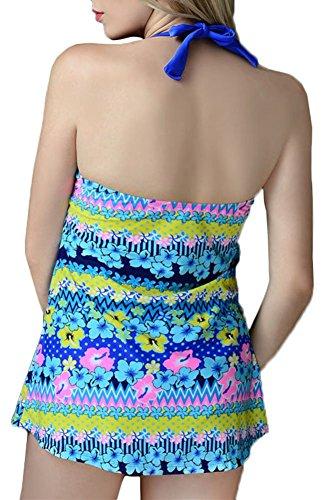 NewShine Damen Retro - Sommer Strand Swimdress/Badehose Einteiler Blau