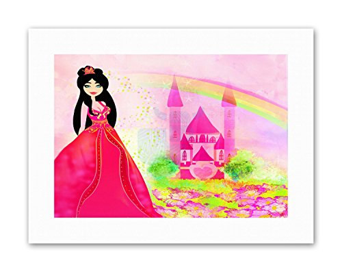 ANDSCAPE PRINCESS CASTLE RAINBOW KIDS BEDROOM Poster Canvas (Rainbow Paint Supply)