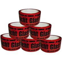 Versando 6PVG50-66 6 Rollen Paketklebeband Vorsicht Glas VG laut, rot/schwarz