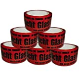 versando 6x PACK BAND PAKET TAPE TAPE VARNING GLASS! 50MMX66M