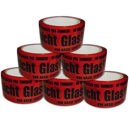 versando 6x PACK BAND PAKET TAPE TAPE VARNING GLASS! 50MMX66M
