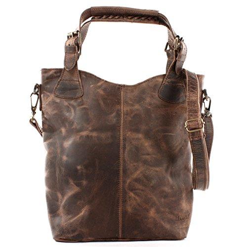 LECONI Henkeltasche Echtleder Vintage-Look Damentasche für Shopping Handtasche für Damen Leder Shopper mit Trageriemen Beuteltasche für die Arbeit, Büro oder Alltag 34x35x10cm schlamm LE0054-wax -