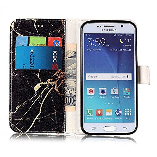 Samsung Galaxy S6 Custoida in Pelle Portafoglio,Samsung Galaxy S6 Cover Pu Wallet,KunyFond Lusso Moda Marmo Dipinto Leather Flip Protective Cover con Bella Modello Cover Custodia per Samsung Galaxy S6 Marmo in oro nero
