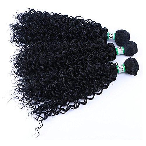 3 Paquets Kinky Cheveux bouclés Haute température fiber Synthétique Sexy Curly Weave Synthétique Extensions de Cheveux Humains Naturel Noir Couleur (3 Pcs 18\