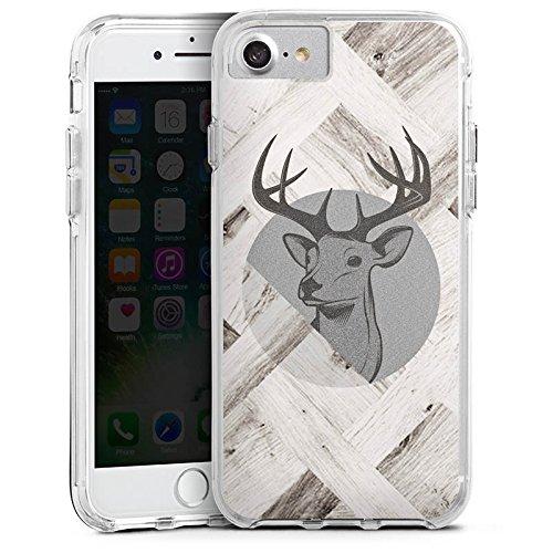 Apple iPhone 6s Bumper Hülle Bumper Case Glitzer Hülle Deer Hirsch Holz Bumper Case transparent