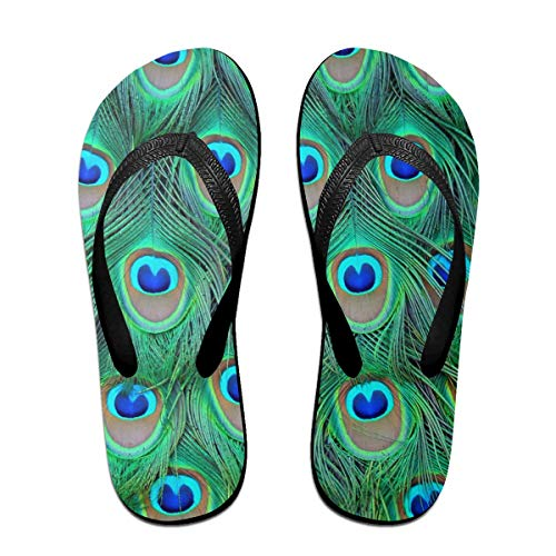 Peacocks Feathers Unisex Adults Casual Flip-Flops Sandal Pool Party Slippers Bathroom Flats Open Toed Slide Shoes Large -
