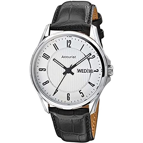 Accurist Mens Black Leather Strap Watch With Day And Date