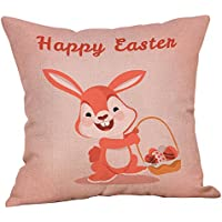 LEEDY Easter Cotton Square Rabbit Throw Pillow Case Cintura Funda de cojín Decoración para el Hogar