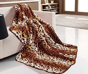 accessory master travel blanket l opard couverture de luxe fausse fourrure plaid microfibre 240. Black Bedroom Furniture Sets. Home Design Ideas