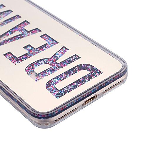 iPhone 7 Plus Custodia,iPhone 7 Plus Cover, JAWSEU 3D Creativo Disegno Lusso Fluente liquido Sparkle Glitter Bling Amore cuore lustrino Protettiva Case Rigida Nero Copertura per iPhone 7 Plus 5.5 Scin Oro Lettera