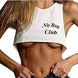 Jaminy Damen New Mode Bluse, Frauen Keine BH Club Brief Print Weste Kurze Tank Tops BH Bluse (XL)