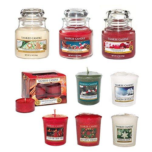 Yankee Candle Kerzen Set 3X klein Jar Duftkerzen, 1x Teelichter Pack, 5X Votivekerzen, Weihnachtenaromen -