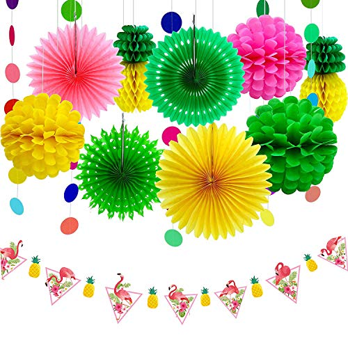 Dekoration Kit Tissue Ananas Papier Pom Poms Blumen Seidenpapier Fan Polka Dot Papier Garland Flamingo Banner für Hawaiian Summer Luau Party ()