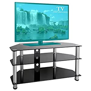 bps 30 65 inch glass tv stand for samsung sony lg electronics. Black Bedroom Furniture Sets. Home Design Ideas