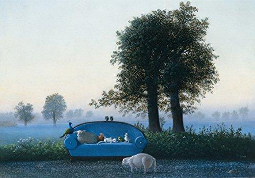 Klappkarte mit Umschlag C6- (11,5 x 17 cm) • 15079-5 ''Das blaue Sofa'' von Inkognito • Künstler: INKOGNITO © Michael Sowa • Fantastik • Tiere • Ostern • Einladungen -