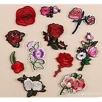 Squishtoy Rose Patch Bordado Apliques de Flores cose en Parches Decorativos DIY diseño de Parches artesanales para Ropa, Jeans, Chaquetas, Bolsos