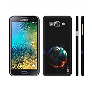Heartly Moon Printed Designer Thin Hard Bumper Back Case Cover For Samsung Galaxy E5 SM-E500F - Blue