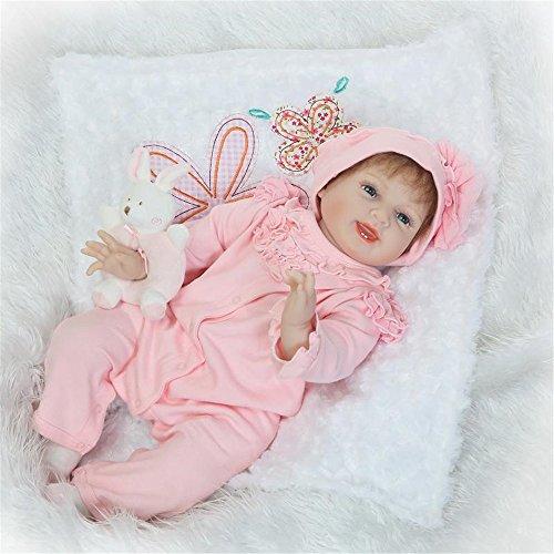 NPK Lebensecht Reborn Baby Doll Wiedergeborene Babypuppe Silikon Glücklich Mädchen Rosa Outfit Kinder Spielzeug Geschenk Kit 22 Zoll 55 cm