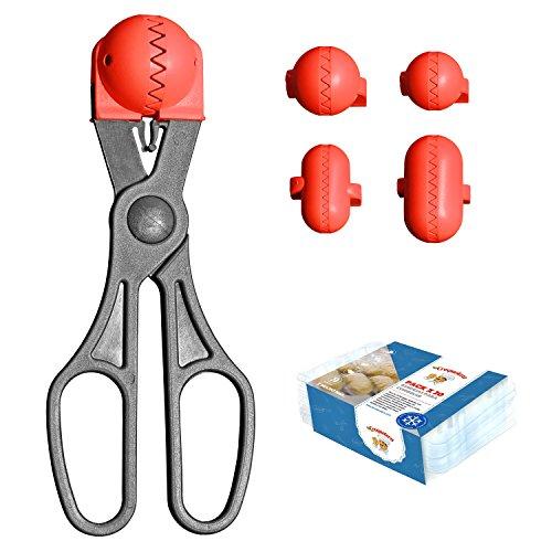 La Croquetera Pack- Utensilio Multiusos Color Rojo - 4 moldes Intercambiables para masas + Pack 20 Bandejas conservación - 100% español : Patentado y Fabricado en España