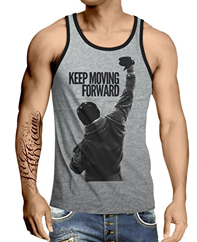 Stylotex Herren Tank Top Basic Keep Moving Forward, Größe:M, Farbe:Heather - Rocky Top T-shirt