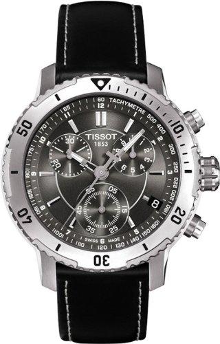Tissot Men's T067.417.16.051.00 Black Leather Swiss Quartz Watch with Grey Dial
