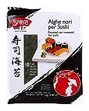 Biyori - Alghe Nori per Sushi - 10 Fogli di Alghe Tostate ed Essiccate Pronte all'Uso - Ideale per Preparazione Sushi o Cottura Brodi, Legumi e Stufati - Non necessita di Cottura - 1 Conf. da 25 g