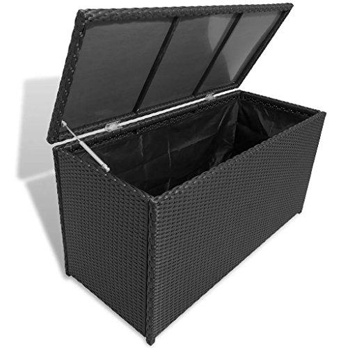 vidaXL Caisse de Stockage de Jardin Poly Rotin Noir Banc Boîte de Rangement