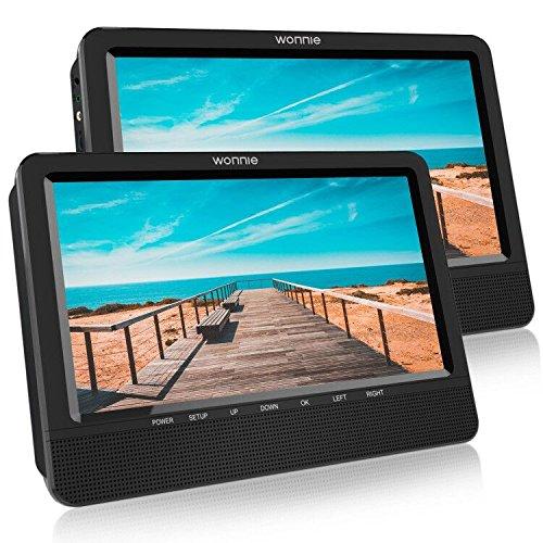 WONNIE Tragbarer Fernseher Auto DVD Player, mit zwei 10.5 Zoll 1024*600 Auflösung TFT-LED Bildschirm,mit Halterung von Kopfstütze,mit Spielfunktion,unterstützt USB/SD ,geeignet für Reise von Familien