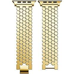 DIPOLA Nueva Correa de Repuesto Correa de Reloj de Acero Inoxidable para Apple Watch Series 3 42MM