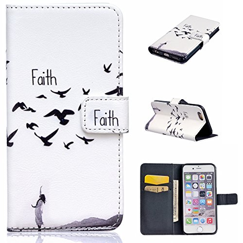 """Igrelem® - Custodia per iPhone 7 da 4,7"""", con protezione per lo schermo in vetro temperato in omaggio, protezione in pelle PU, struttura a portafoglio, motivo: fiori, farfalla, cerco, orso, piuma, dec Faith, White"""
