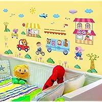 Dibujos animados de animales decoración del hogar de vinilo pegatinas de pared para niños habitaciones de bebés calcomanías Cartel Mural