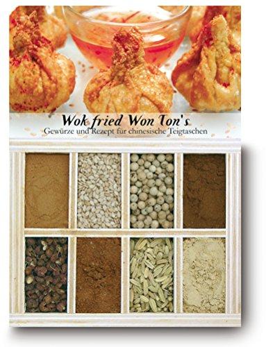 Wok fried Won Ton's - 8 Gewürze Set für die chinesischen Teigtaschen (55g) - in einem schönen Holzkästchen - mit Rezept und Einkaufsliste - Geschenkidee für Feinschmecker von Feuer & Glas - Ton Dim
