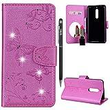 Nokia 5 Hülle,Nokia 5 Handyhülle Leder,WIWJ Handyhülle Wallet Case[Diamant Schmetterling Blume Ledertasche Mit Spiegel] Flip Schutzhülle für Nokia 5-Rosa