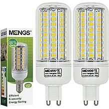 MENGS® Pack de 2 Bombilla lámpara LED 12 Watt G9, 102x 2835 SMD, Blanco Frío 6500K, AC 220-240V