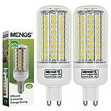 MENGS® 2 Stück G9 12W LED lampe Leuchtmittel & Birne Mais Licht 102 x 2835 SMD LEDs Mit PC Mantel (750LM, AC 220-240V, Kaltweiß 6500K, 360º Abstrahlwinkel, Ø32×90mm) Energiespar licht