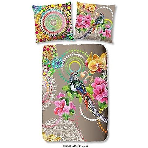 Muller Tessile lenzuola in Satin di cotone makò stampa digitale lenzuola 4pezzi copripiumino 135x 200cm federa 80x 80cm multicolore Aimee - Stampa 4 Pezzi Cotone
