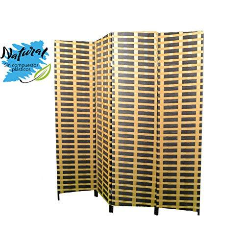 Biombo Separadaor 4 Paneles, Bambú Natural y Papel Trenzado Natural. con Patas de Acero 180x180 cm. Hogar y Más